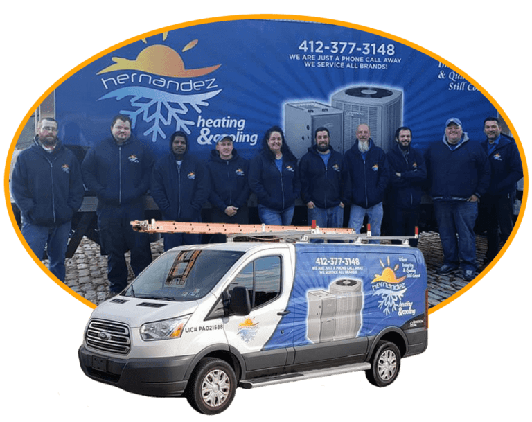 hvac service van and tech team